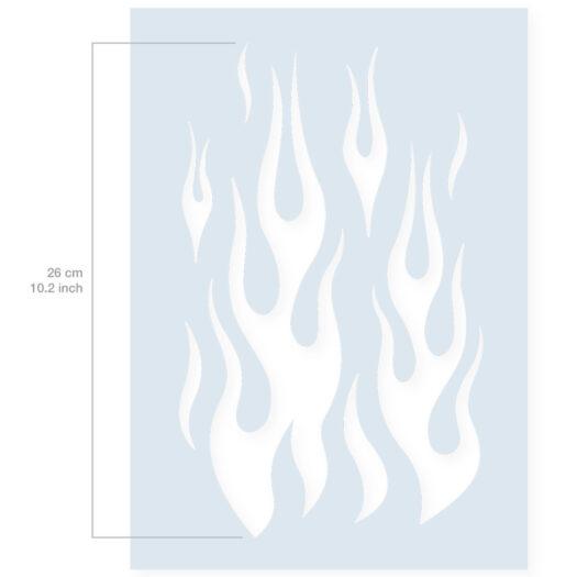 Vlammen stencil afmeting